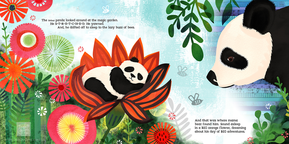 The Littlest Panda, cut paper, collage, paint, digitally composed, © 2015 Emily Dyer