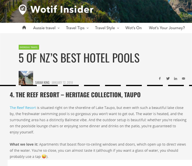 Wotif Insider Article, January 2018 - Our Pool is one of NZ's 5 Best Hotel Pools - click image to read article