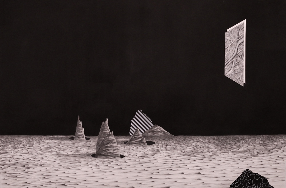 Untitled, 52''x32'', Graphite, Gouache and Cut Paper collage, 2014