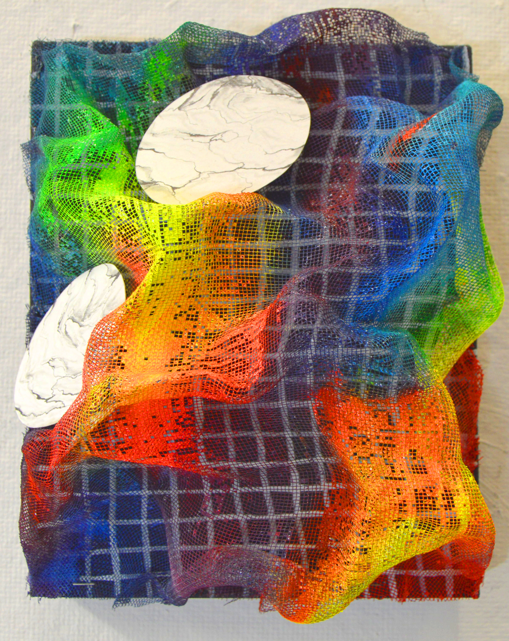 Untitled, 8''x10'', Graphite, gouache, wire mesh, cut paper and enamel on canvas, 2015