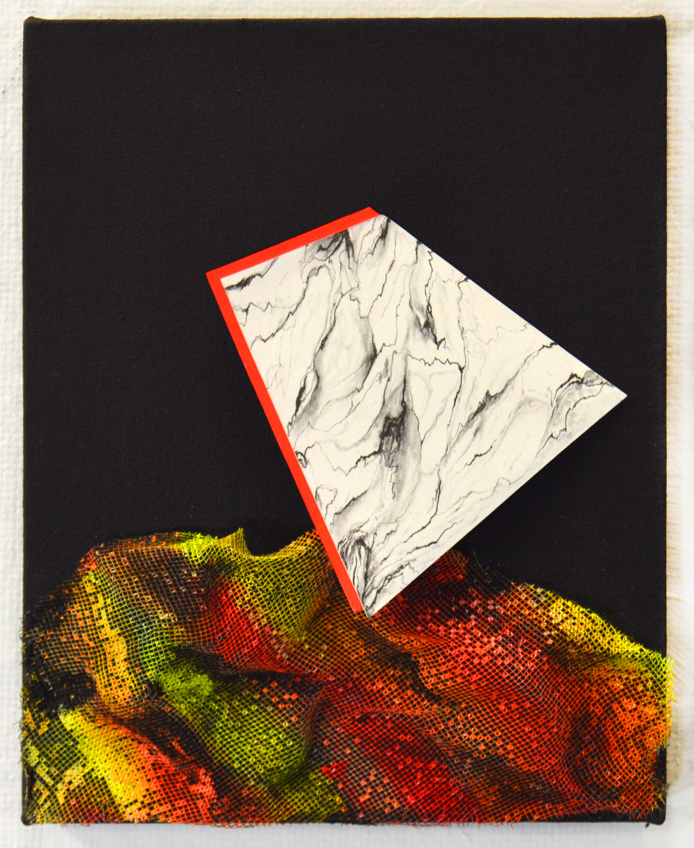 Untitled, Graphite, gouache, cut paper and wire mesh on canvas, 2015