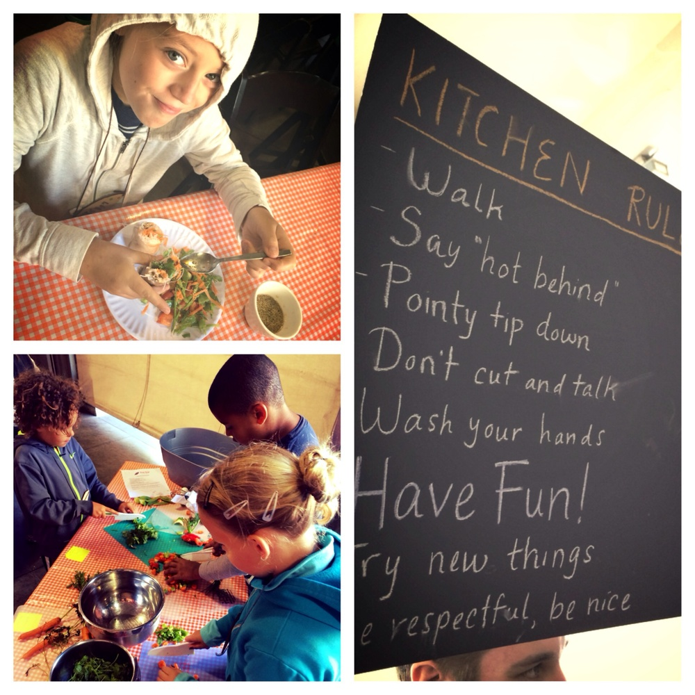 "The campers used the ""kitchen rules"" they'd just created to chop veggies for fresh spring rolls."