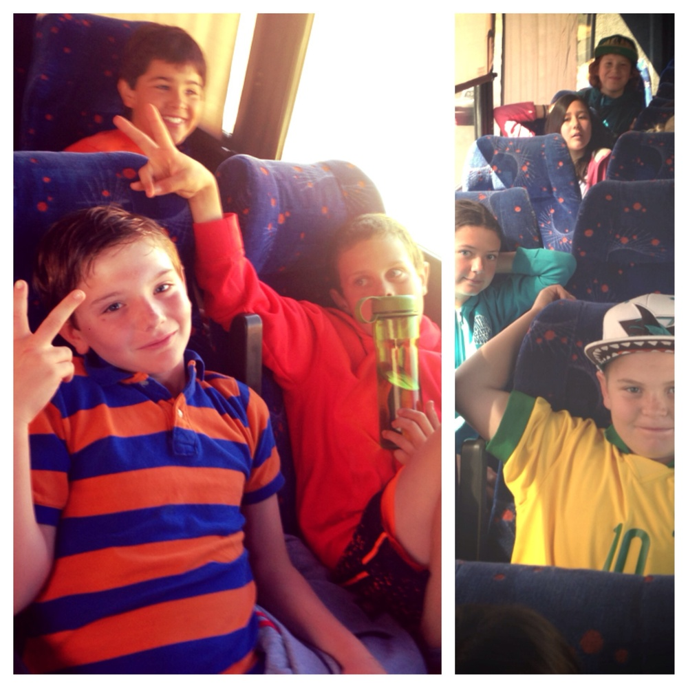Beccan, Aiden, Luke, Izzy, Amanda, Mia and Carlos getting goofy on the bus ride.