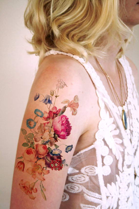 A huge temporary floral tattoo so I can image myself with some body art.