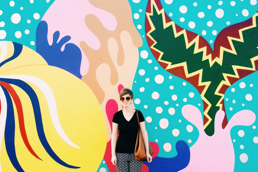 Fun murals everywhere. Here I am being a nerd in front of the mermaid one.