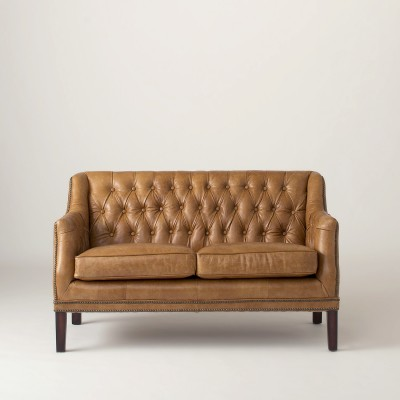 Leather love seat.