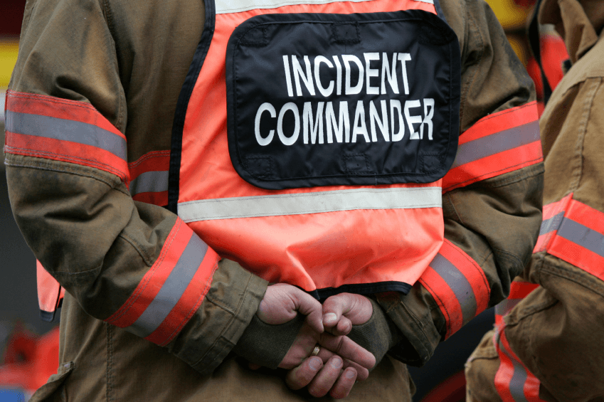 emergency personnel vest labelled incident commander