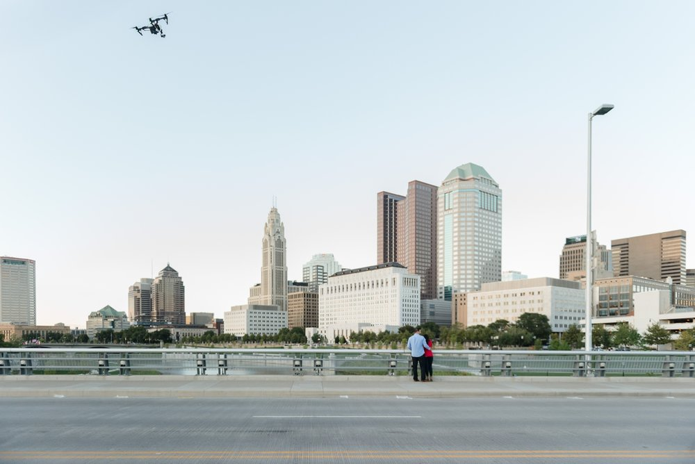 Columbus Ohio Proposal at Rich Street Bridge with Drone Footage | AndreaBelleStudios.com