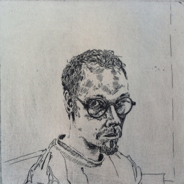 Self Portrait as Harry Potter at age 30, Etching, 2002