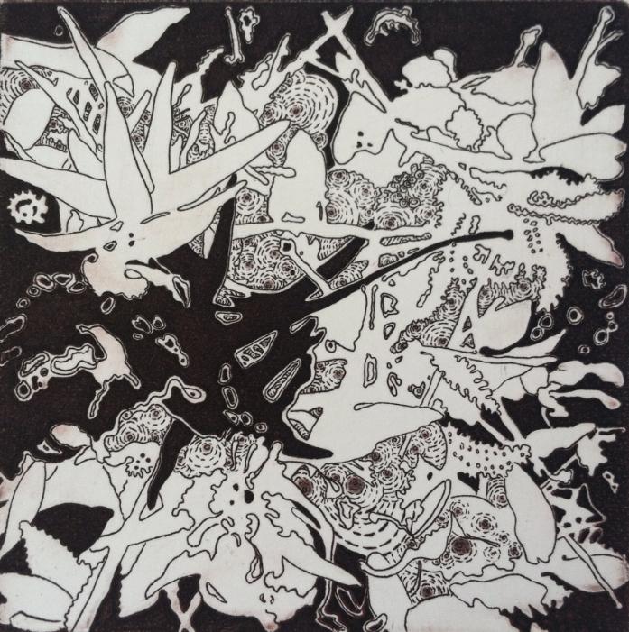 "Joshua Butler, Liminal: Columbine (Black Variation), 4""X4"", Intaglio"