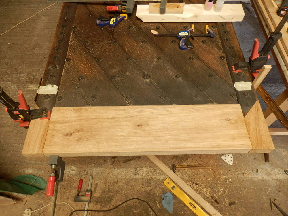 After repairing the bottom edges of the planks, new sections are made in oak.