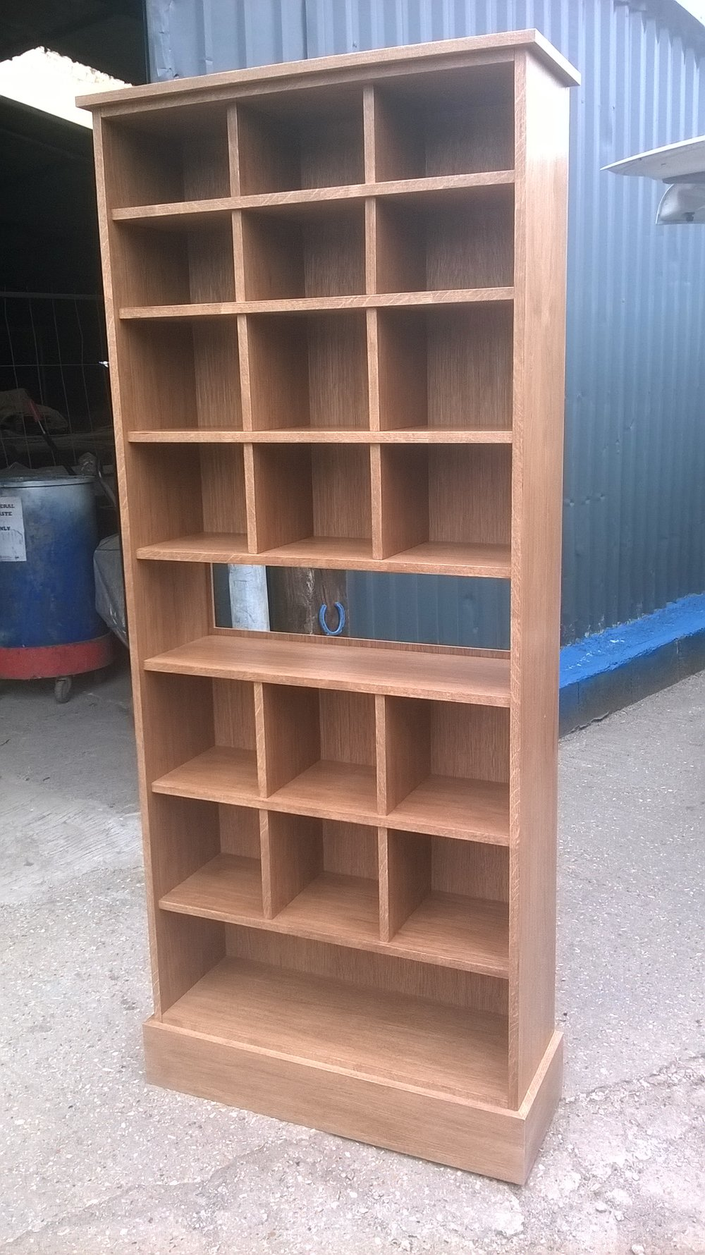Oak veneered bookcase