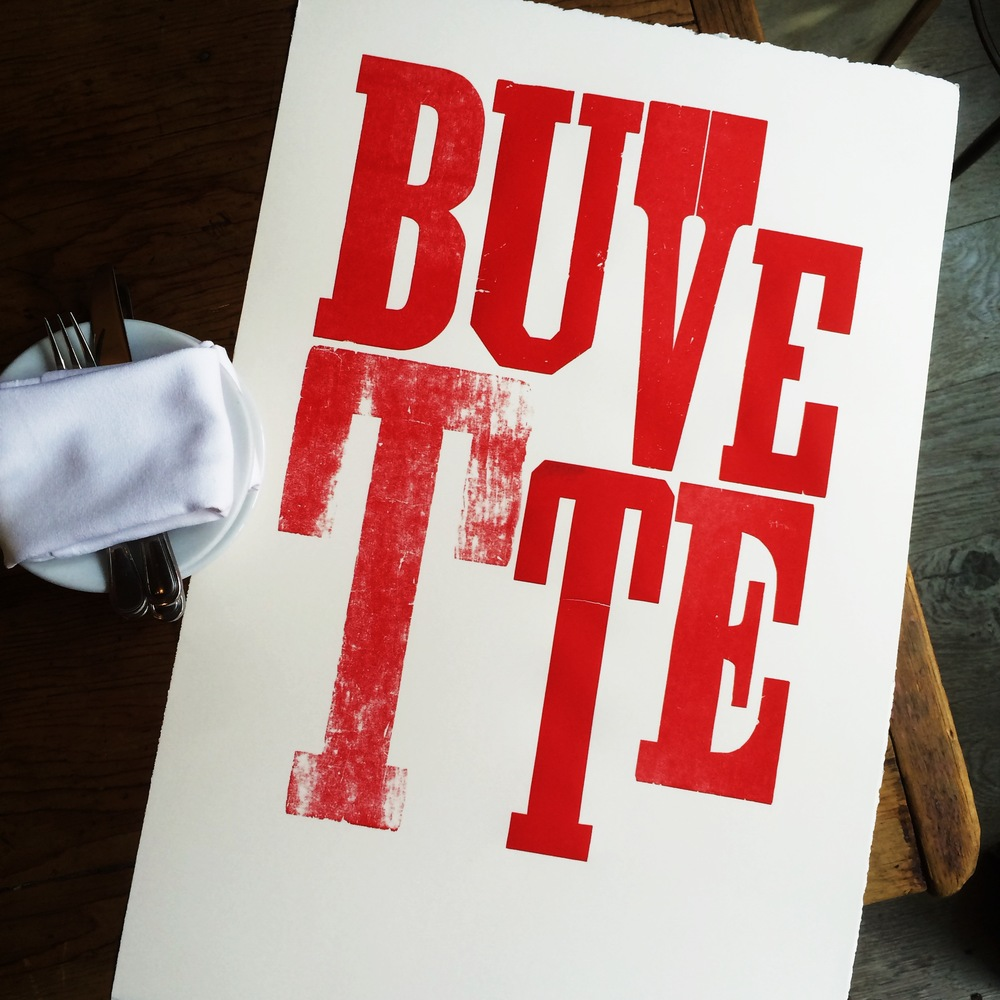 Letterpress poster for Buvette