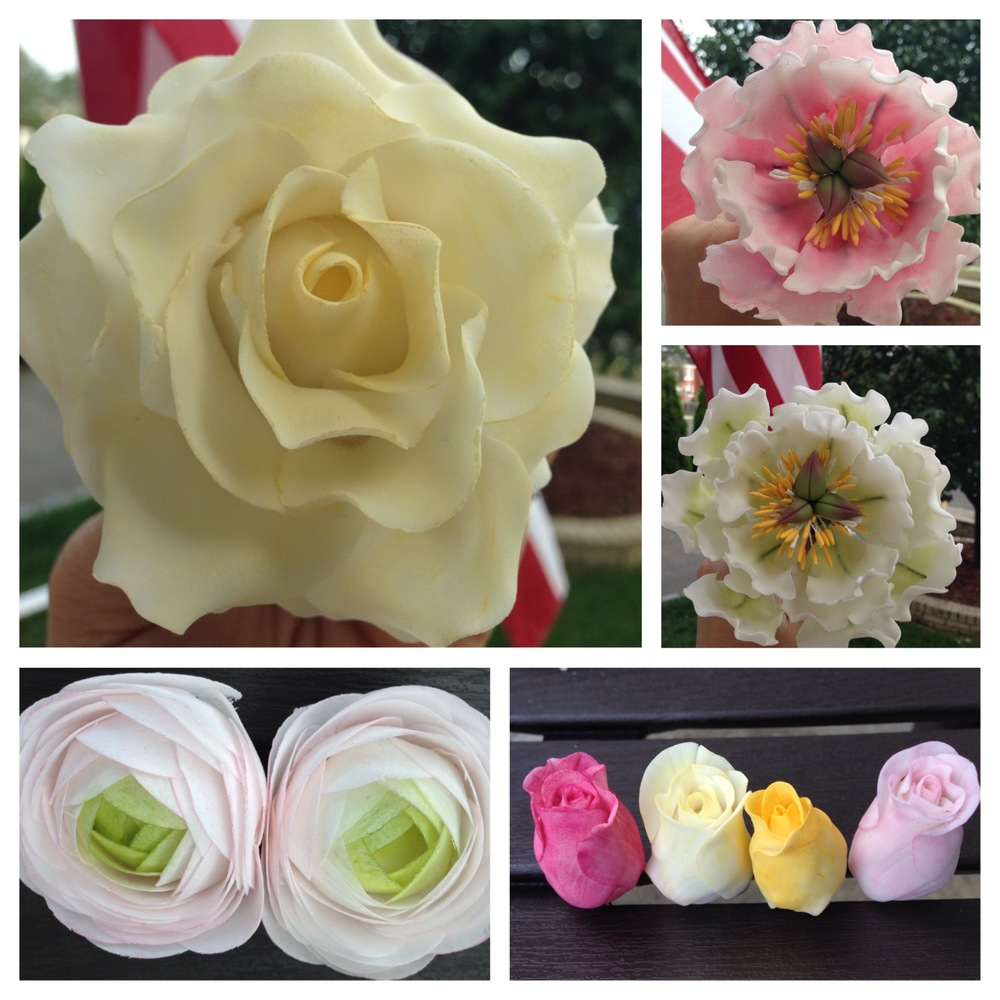 Some more flowers… and there were a bunch more not pictured…  I mixed gum paste flowers in with wafer paper flowers.