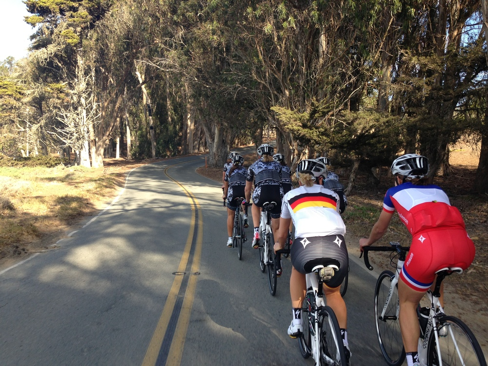 Riding through Morro Bay State Park.  Our two national champs Trixi and Elise :)