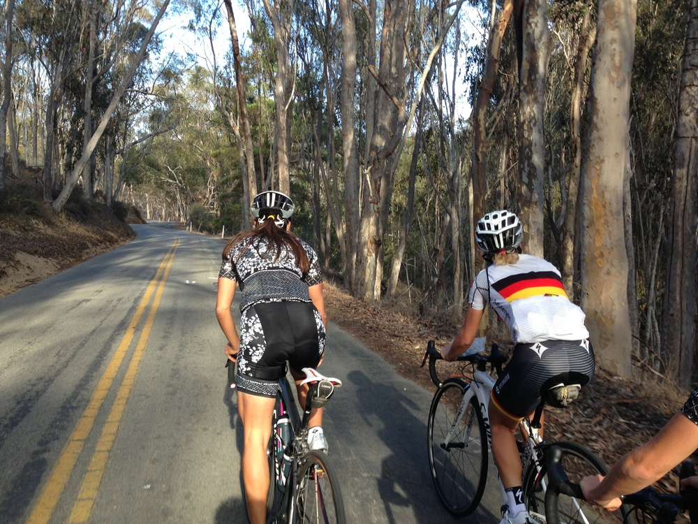 Riding through the eucalyptus trees with Carmen and Trixi.