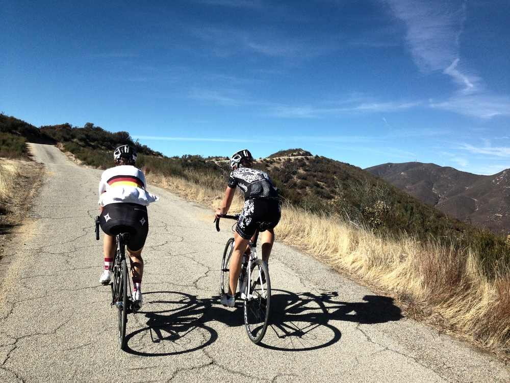 Riding up Black Mountain with Ina and Ally, such a cool climb!