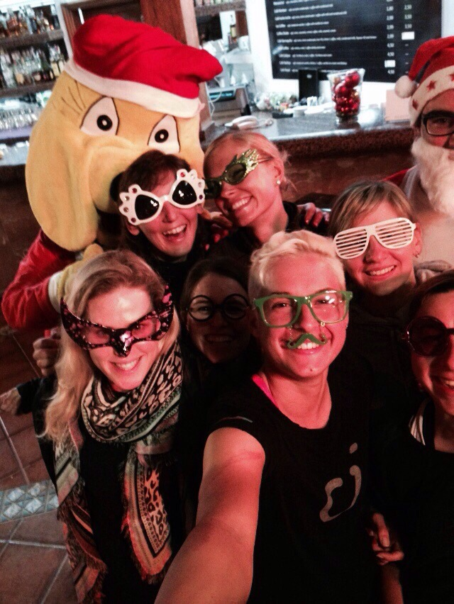 We had a Christmas party the night before everyone flew home.  Crazy glasses have become a tradition at our team camp parties ;)