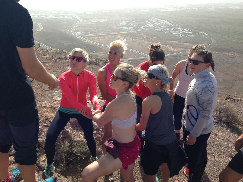 "Our next team building activity at the top of the volcano, the ""trust"" fall! ;)"