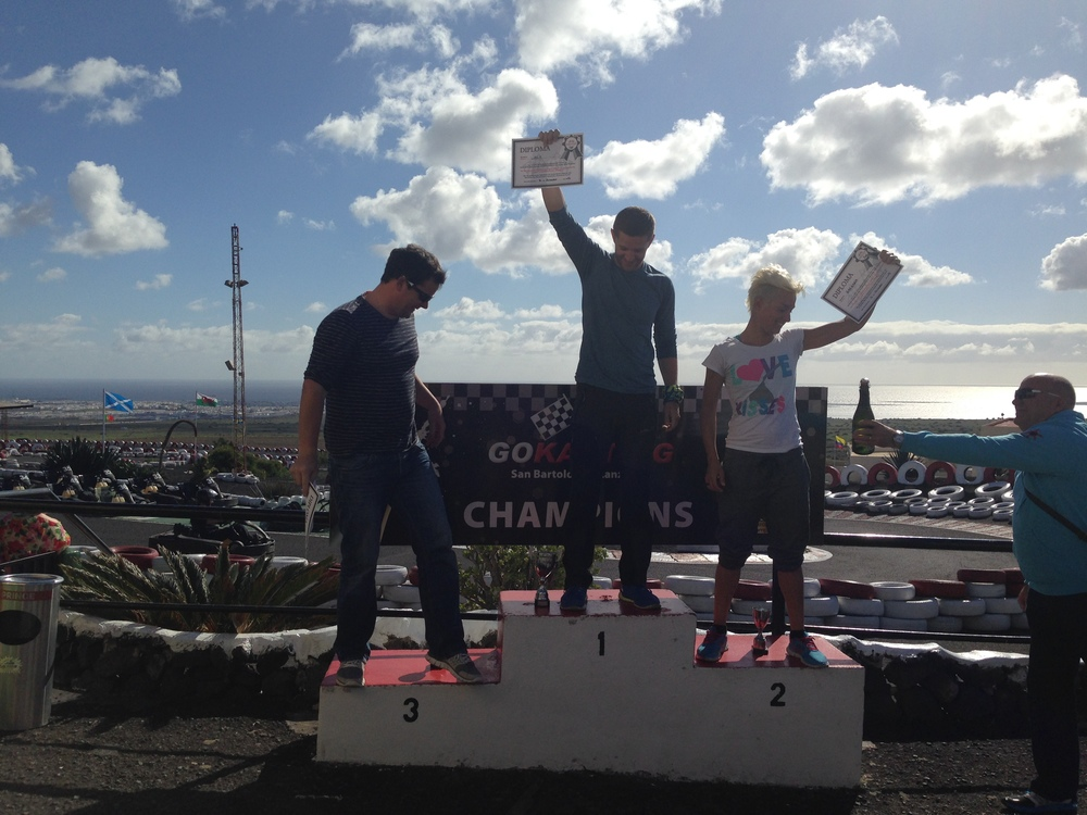 Proper podium with certificates, champagne and all!