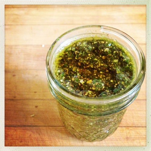 Pesto keeps best and won't brown if you drizzle a thin layer of olive oil over the top to seal.