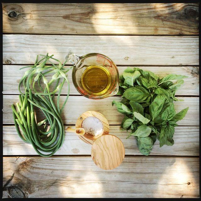 Garlic Scap Pesto Ingredients
