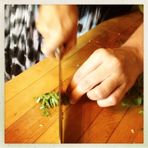 You can rough chop the basil but it looks fancier if you use a chiffonade: stack a number of leaves together and roll as you would a cigar, then use a sharp knife to cut thin strips from the roll and separate while serving!