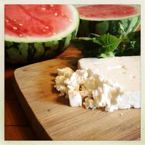 A good French feta has less bite than Turkish feta. If desired, soak the feta in cold water for a few minutes before crumbling to remove some of the salty brine.