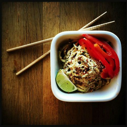 Peanut noodles are a quick and nutritious lunch option - made even better by subbing zucchini noodles for pasta! Serve with sliced veggies and devour accordingly.