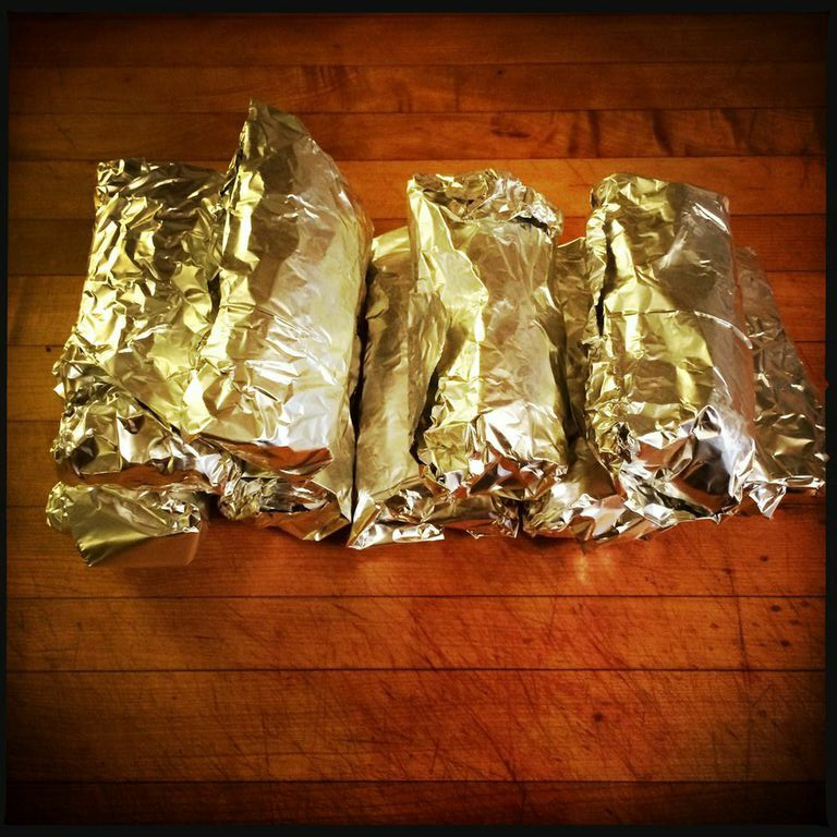 Store frozen, wrapped in parchment and foil. Just grab and reheat as needed! (Remember to remove the foil first!)