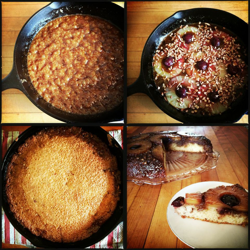 From top left: bubbly, caramel topping, arranged fruit and nuts, the finished cake comes out of the oven rather dark, and the final (inverted) product.