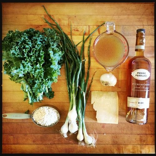 Kale and Young Onion Risotto Ingredients