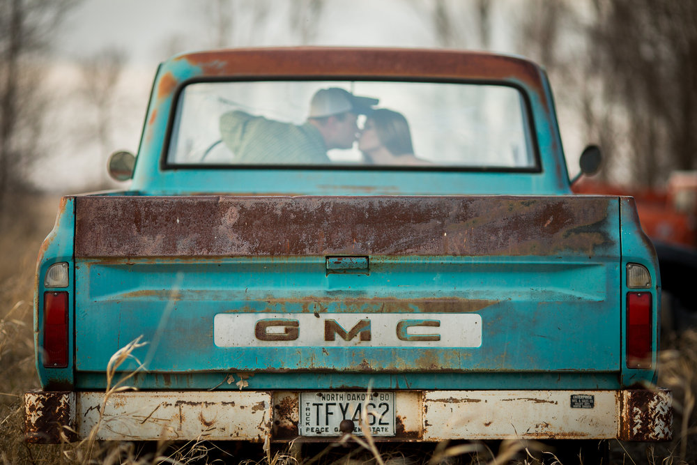 Rural Engagement Session - Old GMC Truck - RockStarWeddings.com