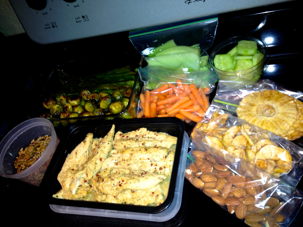 Weekly food preparation.