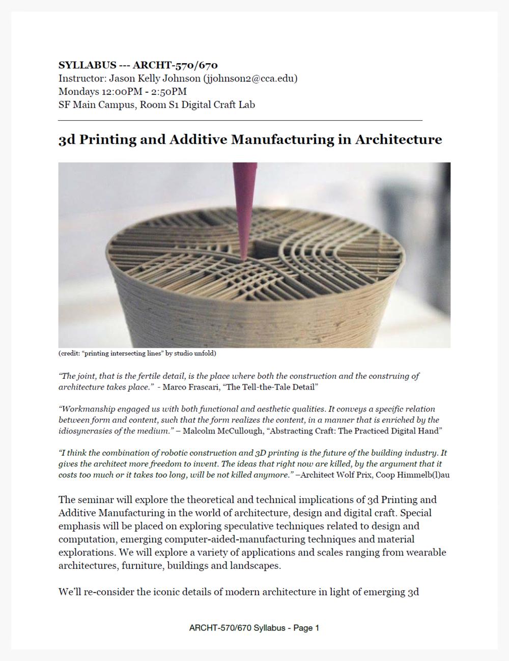 Syllabus Printing Additive Manufacturing In