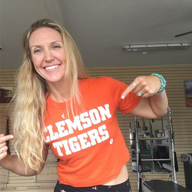 "Here's to the best day of the year! College football starts! This Tiger fan has been counting down all summer! * Pretty cool when you find the same old tee shirt that you wore to every home game when you were 18 and cheering on your favorite boys!😊 * Here's to ""at least"" 12 weeks of couch jumping, beer spilling and lots of orange and purple all fall! 🐅🐅🏈🏈 * #allin #clemsonfootball #clemsontigers #orangeandpurple #oldtees #clemsonfans #clemsongirlsbestintheworld #clemson #vintagetees #canigobacktocollege"