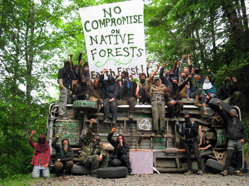 A new generation of Cascadia Forest Defenders blockades the Elliot State Forest in 2009, drawing on a history of blockades and direct action in Oregon's forests since the early 90's.