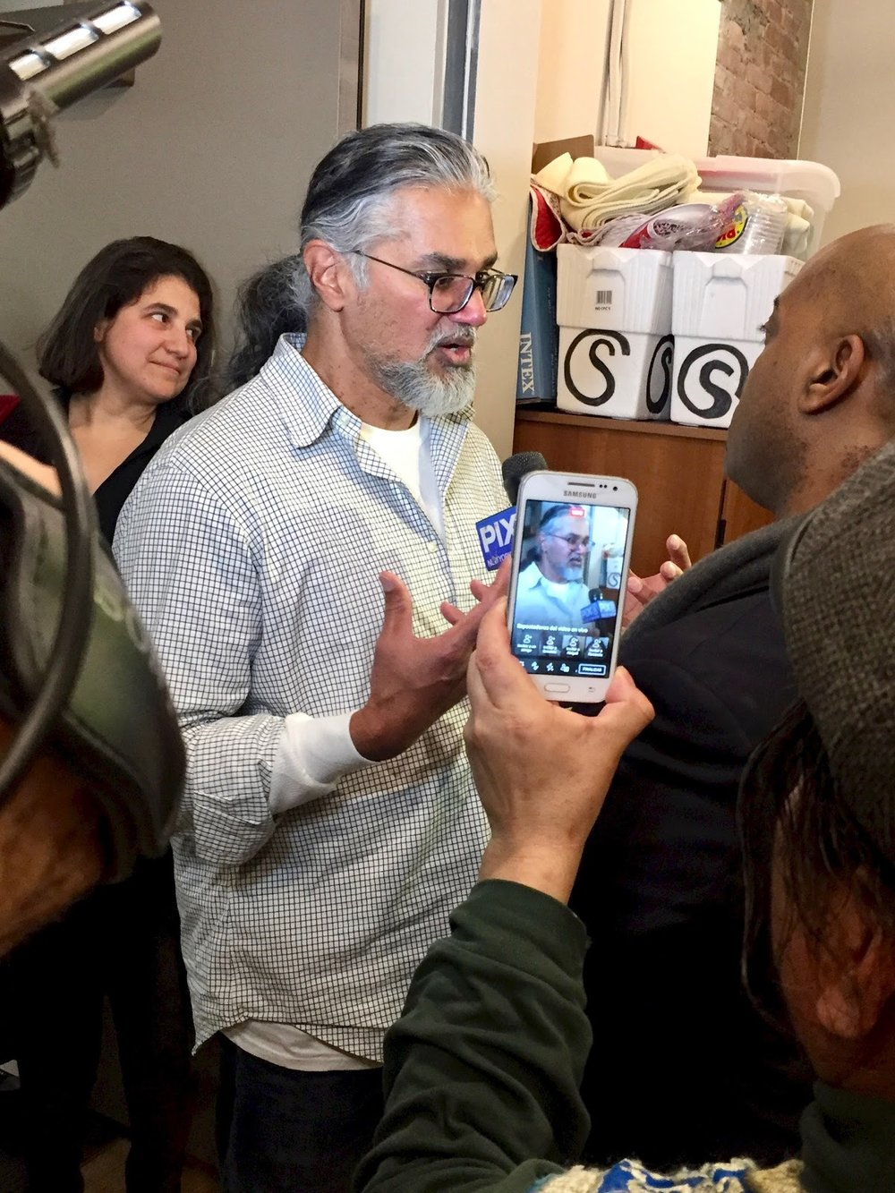 New Sanctuary Coalition Executive Director Ravi Ragbir shortly after his release from ICE.