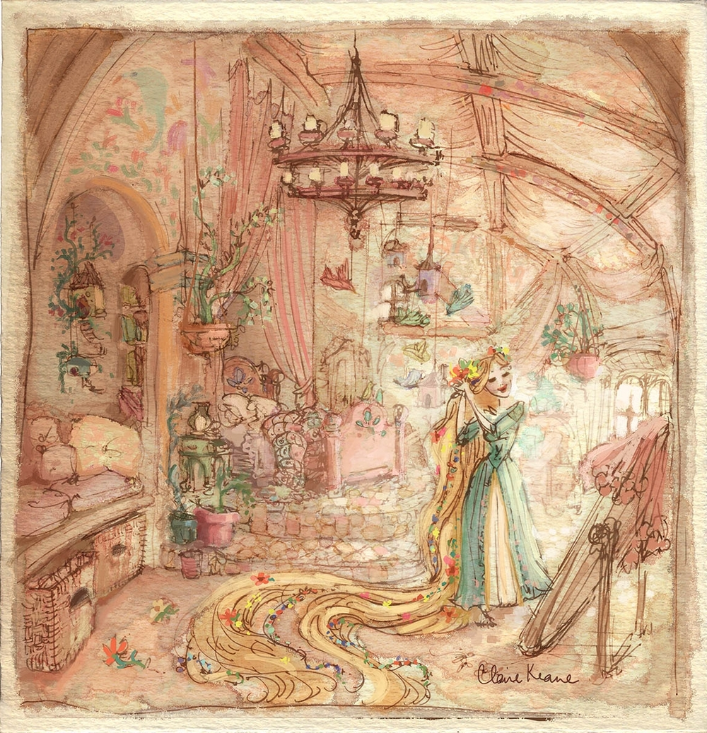 RAPUNZEL IN HER BEDROOM // VISUAL DEVELOPMENT FOR TANGLED
