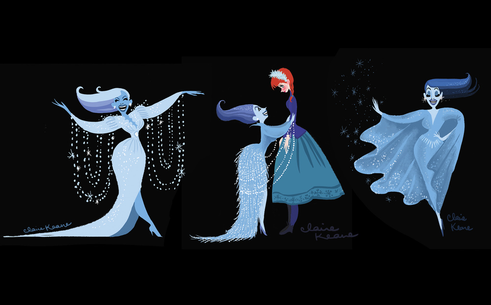 SNOW QUEEN CHARACTER / COSTUME DESIGNS // VISUAL DEVELOPMENT FOR FROZEN