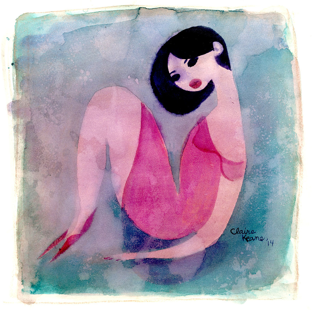 GIRL IN RED  WATERCOLOR / LOVELY EXHIBITION   PRINTS AVAILABLE HERE