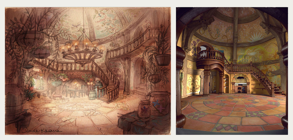 INITIAL INTERIOR DESIGN & FINAL RENDER WITH MURALS  VISUAL DEVELOPMENT // PRODUCTION RENDER FOR TANGLED (BY HANS KEIM)