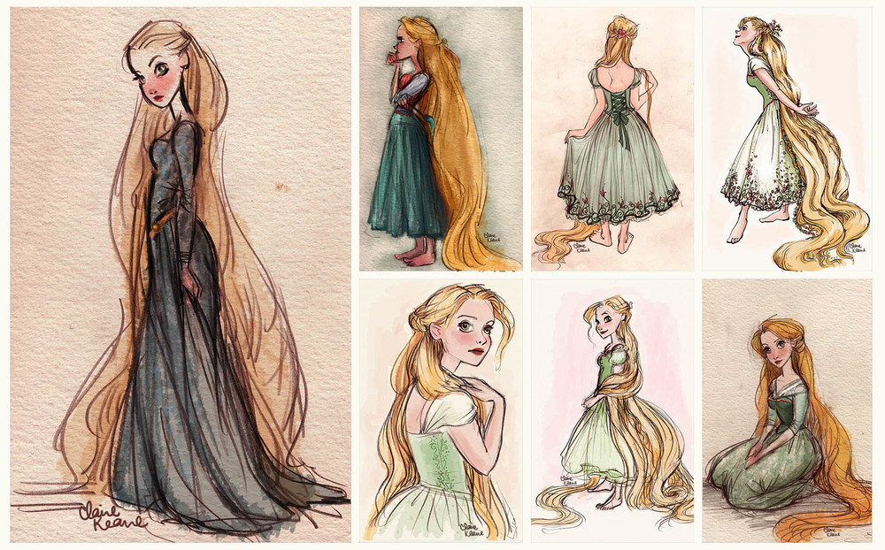 RAPUNZEL COSTUME DESIGN // VISUAL DEVELOPMENT FOR TANGLED