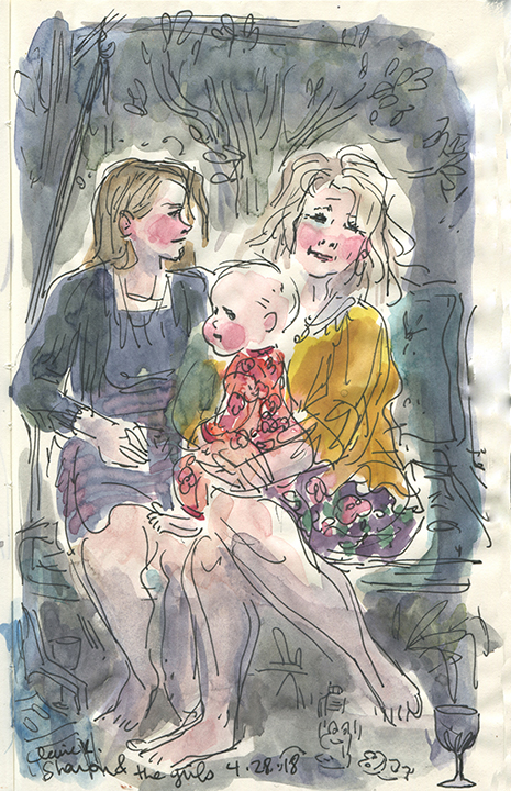 Angela, baby Faye and Sharon