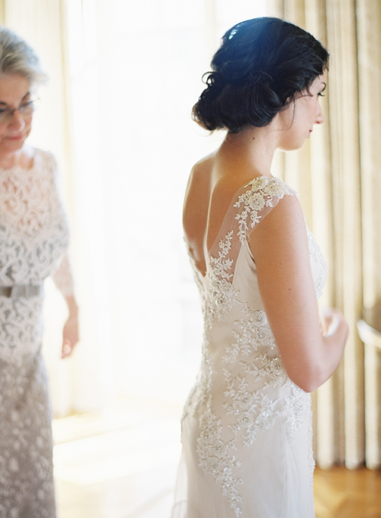 Classic Meridian House DC Wedding | DC Fine Art Film Wedding Photographer  | Bride Getting Ready at The Jefferson DC