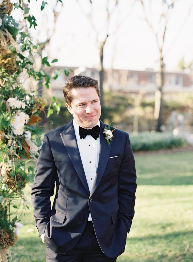 Classic Meridian House DC Wedding | DC Fine Art Film Wedding Photographer  | Outdoor Ceremony Groom in Blue Tux