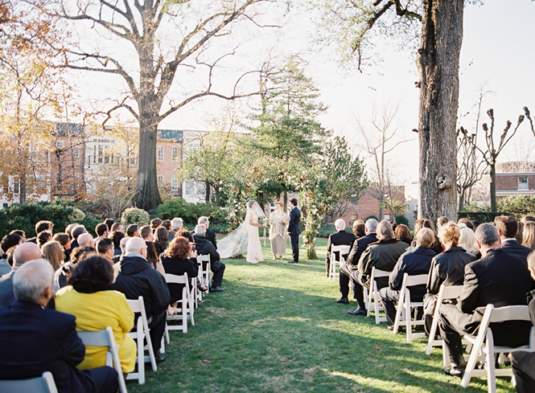 Classic Meridian House DC Wedding | DC Fine Art Film Wedding Photographer  | meridian house Outdoor Ceremony