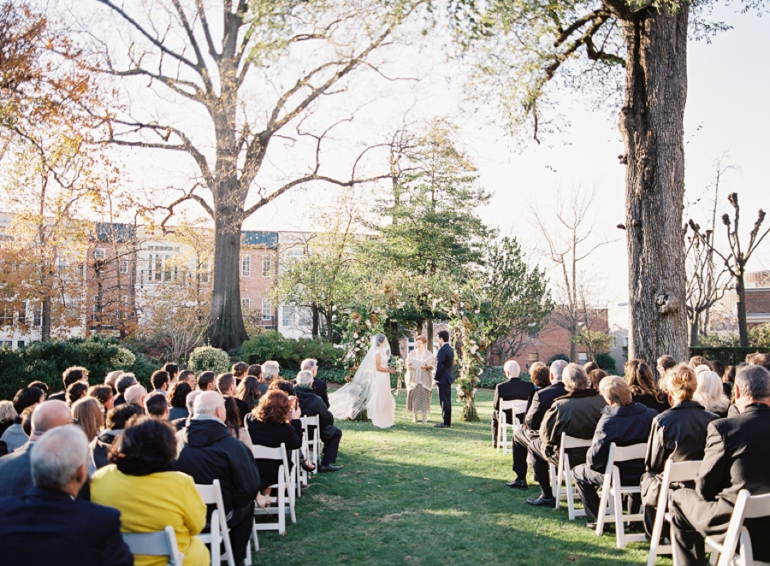 Venue:  Meridian House  | Florals:  Holly Chapple Flowers  | Catering:  The Catering Company of Washington  | Dress:  Sarah Janks  | Veil:  Reem Acra  | Groom's Tux:  J. Crew  | Velvet Bowtie:  Bull and Moose  | Bridesmaids' Dresses:  BCBG  and  Adrianna Papell   | Invitations:  Bella Figura