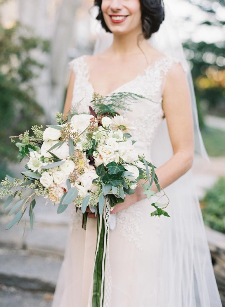 Classic Meridian House DC Wedding | DC Fine Art Film Wedding Photographer  | Meridian House Wedding Holly Chapel Flowers Bouquet