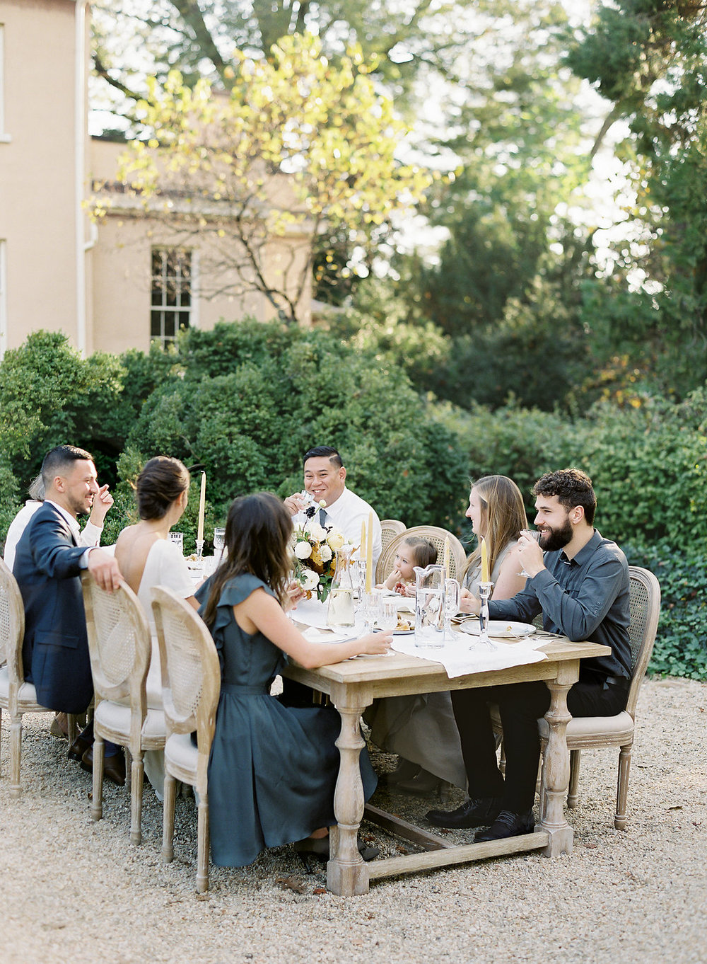 Fine art film photographer photography wedding engagement washington DC georgetown virginia modern bride destination inspiration tuscan inspired minimal classic timeless california ny dining table